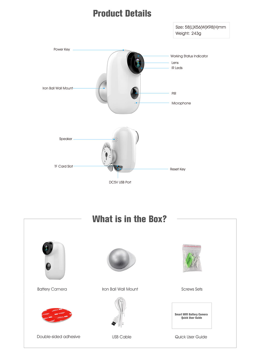 Q6 IP65 100% wireless Home Security IP Camera