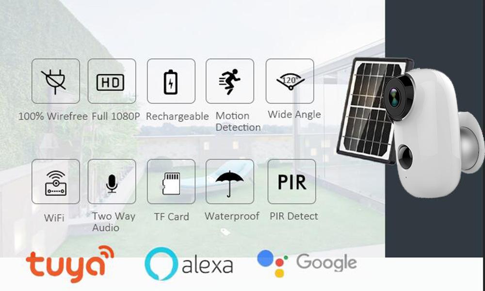Solar Powered Outdoor Battery Wireless IP Camera